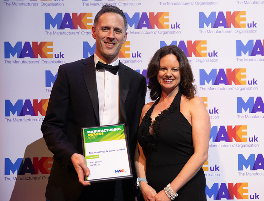 Ben Wilson highly commended at National Manufacturing Awards